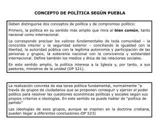 CONCEPTO DE POLÍTICA SEGÚN PUEBLA