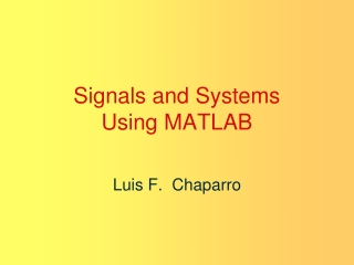 Signals  Systems Introduction to MATLAB