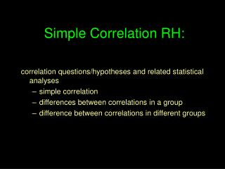 Simple Correlation RH: