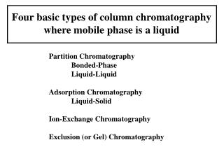 Four basic types of column chromatography where mobile phase is a liquid
