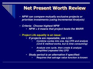 Net Present Worth Review