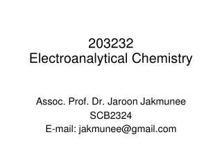 203232 Electroanalytical Chemistry
