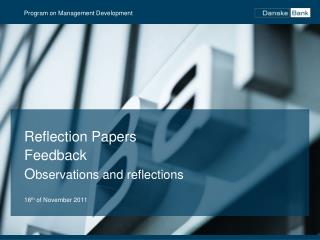 Reflection Papers Feedback  O bservations and reflections