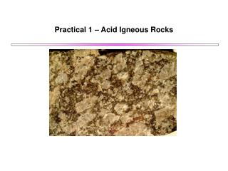 Practical 1 – Acid Igneous Rocks