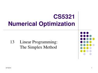 CS5 3 21  Numerical Optimization
