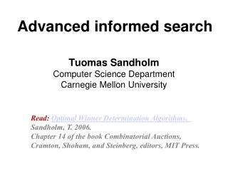 Advanced informed search