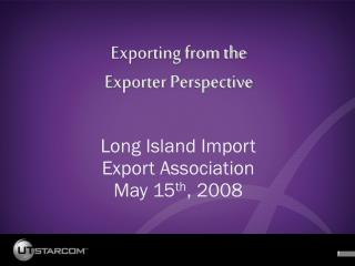 Exporting from the  Exporter Perspective