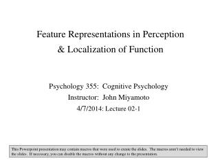 Feature Representations in Perception & Localization of Function