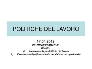 POLITICHE DEL LAVORO