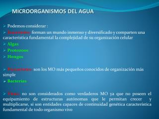 MICROORGANISMOS DEL AGUA