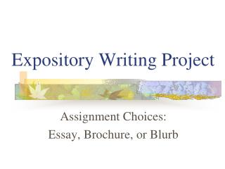 Expository Writing Project