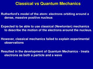Classical vs Quantum Mechanics