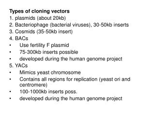 Types of cloning vectors 1. plasmids (about 20kb)