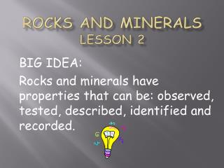 Rocks and Minerals Lesson 2
