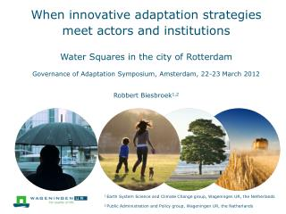When innovative adaptation strategies meet actors and institutions