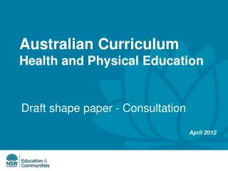 Australian Curriculum  Health and Physical Education