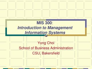 MIS 300 :  I ntroduction to Management Information Systems