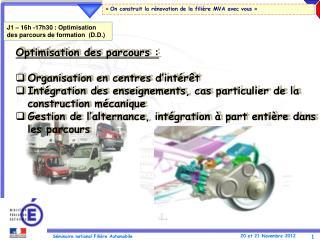 Optimisation des parcours : Organisation en centres d'intérêt Intégration  des enseignements, cas particulier de la co