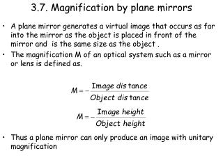 3.7. Magnification by plane mirrors