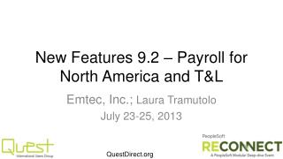New Features 9.2 – Payroll for North America and T&L