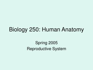 Biology 250: Human Anatomy
