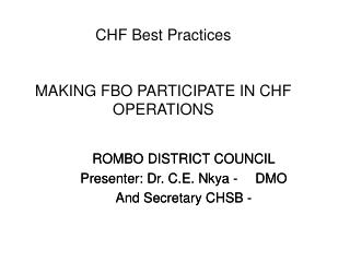 CHF Best Practices MAKING FBO PARTICIPATE IN CHF OPERATIONS