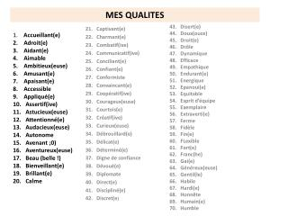 21.   Captivant(e) 22.   Charmant(e) 23.   Combatif(ive) 24.   Communicatif(ive)