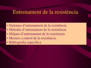 Entrenament de la resistència