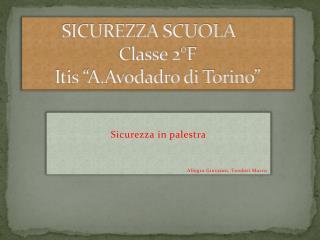 """SICUREZZA SCUOLA Classe 2°F  Itis """"A.Avodadro di Torino"""""""