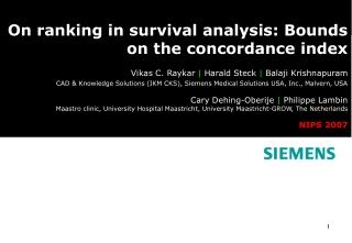 On ranking in survival analysis: Bounds  on the concordance index
