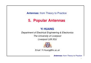 Antennas:  from Theory to Practice 5.  Popular Antennas