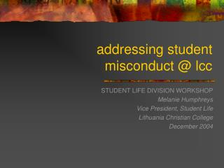 addressing student misconduct @ lcc