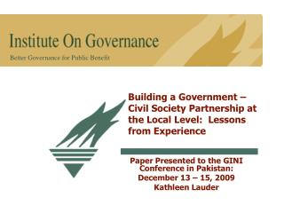 Building a Government –Civil Society Partnership at the Local Level:  Lessons from Experience