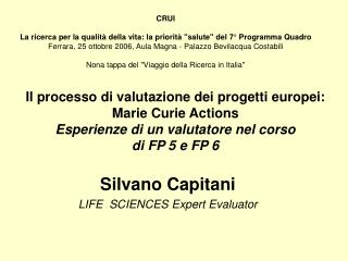 Silvano Capitani LIFE  SCIENCES Expert Evaluator