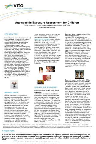 Age-specific Exposure Assessment for Children Johan Bierkens,  Christa Cornelis, Mirja Van Holderbeke, Rudi Torfs johan.
