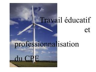 Travail éducatif et   professionnalisation  du CPE
