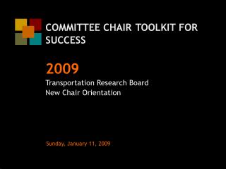 COMMITTEE CHAIR TOOLKIT FOR SUCCESS