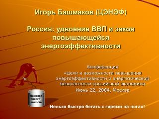 Игорь Башмаков (ЦЭНЭФ) Россия: удвоение ВВП и закон повышающейся энергоэффективности