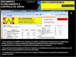 Exemplo de rigoroso controle do cronograma, mão de obra e custos da obra via MSProject.