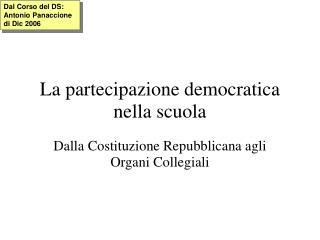 La partecipazione democratica nella scuola