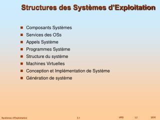 Structures des Systèmes d'Exploitation