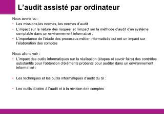 L'audit assisté par ordinateur