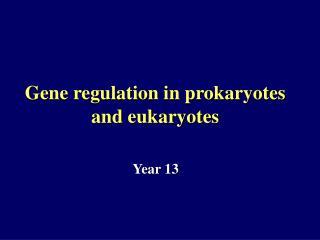Gene regulation in prokaryotes and eukaryotes