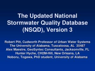 Stormwater NPDES Data Collection and Evaluation Project