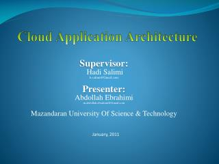 Cloud Application Architecture