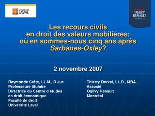 Raymonde Crête, LL.M., D.Jur. Thierry Dorval, LL.D., MBA. Professeure titulaire  Associé