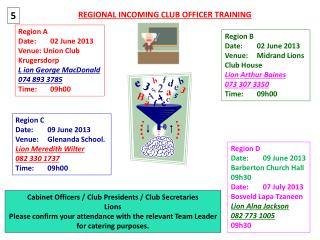 REGIONAL INCOMING CLUB OFFICER TRAINING