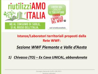 Istanze/Laboratori territoriali proposti dalla  Rete WWF: S ezione WWF Piemonte e Valle d'Aosta