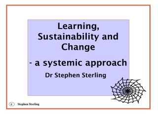 Learning, Sustainability and Change - a systemic approach 	Dr Stephen Sterling