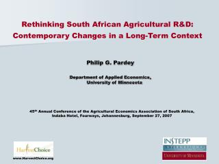 Rethinking South African Agricultural R&D: Contemporary Changes in a Long-Term Context